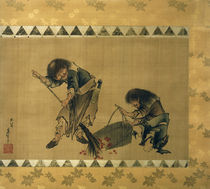 Kanzan und Jittoku / Hängerolle von Hokusai, 1826–1833 von AKG  Images