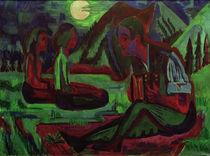 E.L.Kirchner, Mondnacht; Handorgler in Mondnacht von AKG  Images