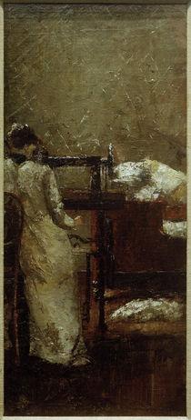 L.Ury, Frau an der Nähmaschine by AKG  Images
