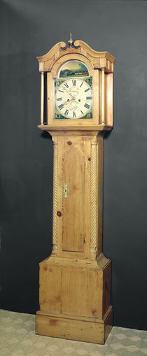Long-case clock, with enamel painting of a train on the dial by English School