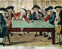 Billiards, 18th century etching by R.Sayer von English School