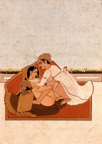 Lovers on a terrace with white flowers von Indian School