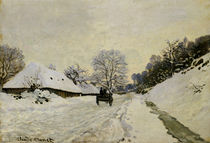 The Cart, or Road under Snow at Honfleur von Claude Monet
