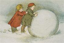 Children Rolling Snowballs by Lizzie Mack