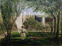 A Garden Scene, with a boy by Charles Robert Leslie