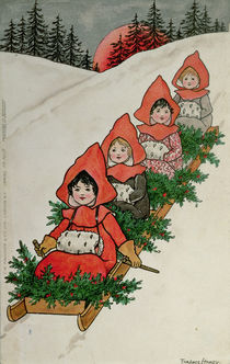 Four Little Girls on a Sledge by Florence Hardy