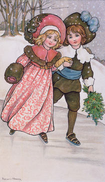 Girl and Boy Skating, late 19th or early 20th century von Florence Hardy