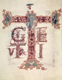 Col Lat 9428 f.15v Initial 'T'; The Ascension of Christ von French School