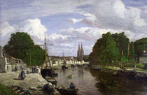 The Port at Quimper, 1857 by Eugene Louis Boudin