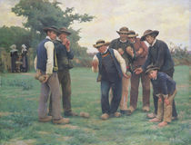 Playing Boules on the outskirts of Concarneau by Theophile Louis Deyrolle
