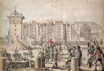 Mountebanks and Promenaders on the Pont au Change von French School
