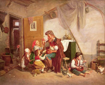 The widowed family, 19th century by Giuseppe Mazzolini