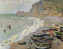 Etretat, beach and the Porte d'Amont von Claude Monet