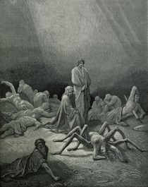 Virgil and Dante looking at the spider woman von Gustave Dore