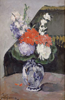 Flowers in a Small Delft Vase by Paul Cezanne