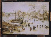 Skaters on the Lake by Jan Brueghel the Elder