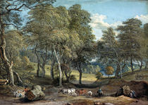 Windsor Forest with Oxen Drawing Timber von Paul Sandby