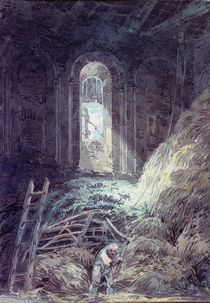 A Barn, Interior of the Ruined Refectory of St. Martin's Priory by Joseph Mallord William Turner