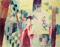 Two Women and a Man with Parrots von August Macke