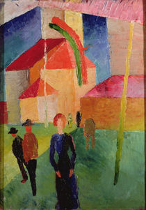 Church Decorated with Flags von August Macke