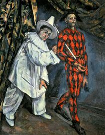 Pierrot and Harlequin , 1888 by Paul Cezanne