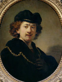 Self Portrait with Hat and Gold Chain by Rembrandt Harmenszoon van Rijn