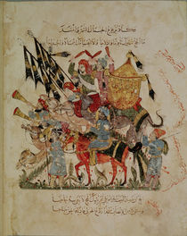 Ar 5847 f.94v, Caravan going to Mecca from 'The Maqamat' by Al-Hariri by Yahya ibn Mahmud Al-Wasiti