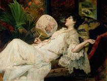 Young Woman Smoking, 1894 von Francisco Masriera y Manovens