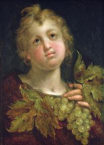 Boy with a bunch of grapes von Johann or Hans von Aachen