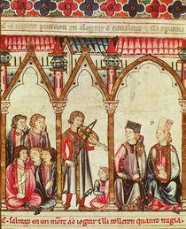 "Group of Troubadours, illustration from ""Cantigas de Santa Maria"" von Spanish School"