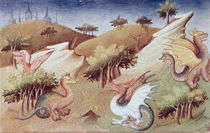 Ms Fr 2810 f.55v, Dragons and other beasts by Boucicaut Master