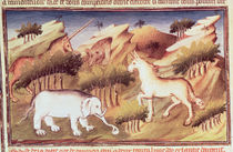 Ms Fr 2810 f.59v, Mythical animals in the wilderness by Boucicaut Master