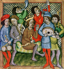 Seated crowned figure surrounded by musicians playing the lute von Czech School