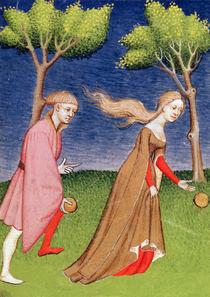Harl 4431 f.128v Melanion races against Atalanta by French School
