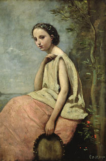 Zingara with a Tambourine by Jean Baptiste Camille Corot