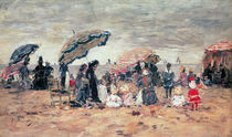 Parasols on the Beach, Trouville by Eugene Louis Boudin