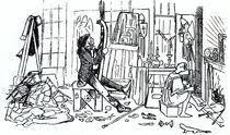 Edward Burne-Jones at work in his studio at 17 Red Lion Square von English School
