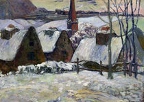 Breton village under snow, 1894 von Paul Gauguin