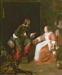 A maid and an officer, c.1660-70 by Gabriel Metsu