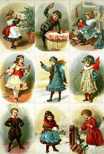 Christmas cards depicting various children's activities von Charles J. Staniland