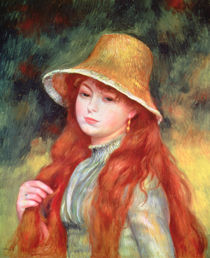 Young girl with long hair, or Young girl in a straw hat, 1884 by Pierre-Auguste Renoir