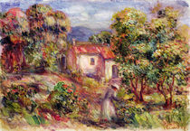 Woman picking Flowers in the Garden of Les Colettes at Cagnes von Pierre-Auguste Renoir