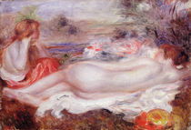 Bather reclining and a young girl doing her hair by Pierre-Auguste Renoir