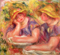 Two women in blue blouses, 1919 by Pierre-Auguste Renoir