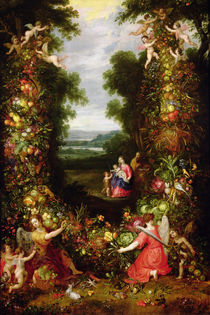 Holy Family in a landscape with a garland of fruit and vegetables by J. & Avont, P. van Brueghel