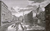 View of a procession in the Graben engraved by Georg-Daniel Heumann von Salomon Kleiner