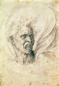 Study of a man shouting by Michelangelo Buonarroti