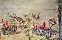Cortes sinking his fleet off the coast of Mexico by Spanish School