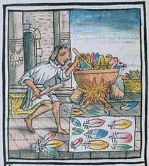 Ms Palat. 218-220 Aztec artisans dyeing feathers by Spanish School