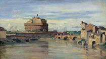 Castel Sant' Angelo and the River Tiber von Jean Baptiste Camille Corot